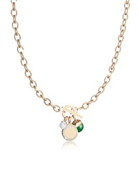 Rebecca Hollywood Stone Yellow Gold Over Bronze Chain Necklace W Hydrothermal Green Stone And Glass Pearl