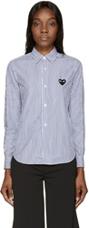 Comme Des Garcons Blue And White Striped Button Up Shirt