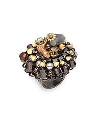 Miriam Haskell Faux Pearl Cocktail Ring Hematite