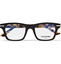 Cutler And Gross Square Frame Tortoiseshell Acetate Optical Glasses Black