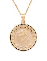 Lord And Taylor 14K Yellow Gold Christopher Medallion Pendant Necklace