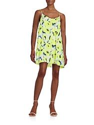 Saks Fifth Avenue Red Floral Print Slip Dress Bright Yellow