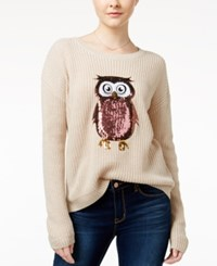Hooked Up By Iot Juniors' Sequin Owl Graphic Sweater Oatmeal Heather