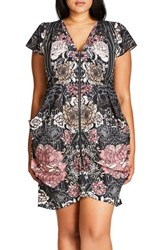 City Chic Plus Size Women's Print Front Zip Tunic