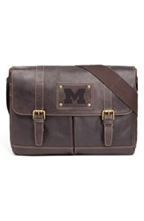 Men's Jack Mason Brand 'Gridiron Michigan Wolverines' Leather Messenger Bag