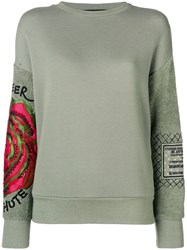 Mr And Mrs Italy Embroidered Sleeve Sweatshirt Green