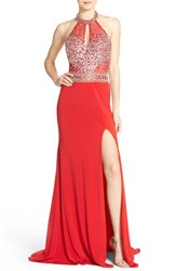 Women's Jvn By Jovani Embellished Jersey Halter Gown With Shawl