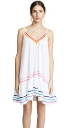 9Seed St. Tropez Ruffle Mini Cover Up White Rainbow Trim