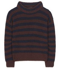 Loro Piana Ciambella Davenport Striped Cashmere Sweater Blue