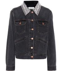 Etoile Isabel Marant Christa Embellished Denim Jacket Grey