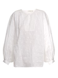 Mes Demoiselles Organdy Glor Embroidered Top Ivory