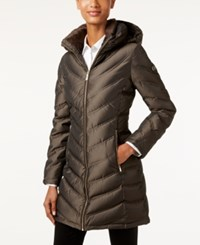 Calvin Klein Hooded Chevron Down Puffer Coat Irridescent Taupe