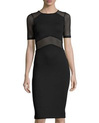 French Connection Arrow Mesh Panel Sheath Dress Black