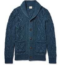 Faherty Shawl Collar Indigo Dyed Cable Knit Cotton Cardigan Blue