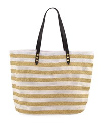 San Diego Hat Company Striped Braid Shoulder Tote Bag White