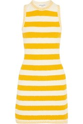 Sonia Rykiel Striped Boucle Knit Mini Dress Yellow