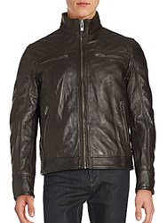 Rogue Leather Zip Up Jacket Brown