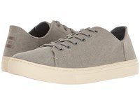 Toms Lenox Sneaker Drizzle Grey Washed Canvas Women's Lace Up Casual Shoes Gray