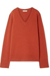 The Row Elaine Oversized Wool And Cashmere Blend Sweater Brick