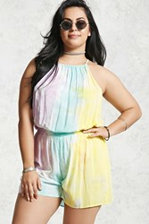 Forever 21 Plus Size Tie Dye Romper Yellow Multi