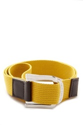 Parke And Ronen Battalion D Ring Leather Trim Belt Yellow