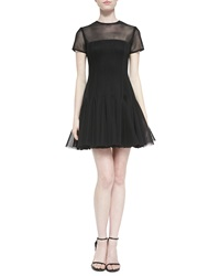 Dkny Short Sleeve Pleated Illusion Dress