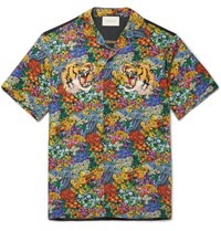 Gucci Appliqued Floral Print Washed Silk Shirt Multi