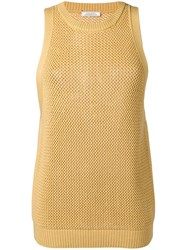 Nina Ricci Cashmere Eyelet Knitted Top Yellow