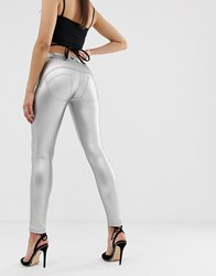 Freddy Wr.Up Shaping Effect Mid Rise Leather Skinny Jean Silver