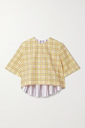 Rosie Assoulin Party In The Back Cropped Paneled Cotton Seersucker Top Yellow