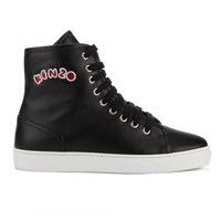 Kenzo Women's K Skate High Top Trainers Black Pink Fur