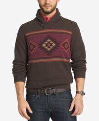 G.H. Bass And Co. Men's Shawl Collar Geometric Striped Sweater Demitasse Heather