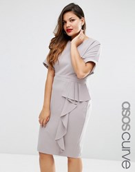 Asos Curve Pencil Wiggle Dress With Waterfall Front Grey
