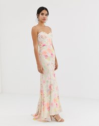 Jarlo All Over Printed Maxi Dress With Train In Floral Multi