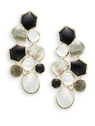 Ippolita Polished Rock Candy Onyx Shell Mother Of Pearl And 18K Yellow Gold Mosaic Earrings