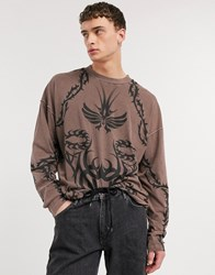 Jaded London Long Sleeve T Shirt With Tattoo Print In Brown