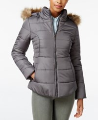 Rampage Faux Fur Trim Hooded Ruched Puffer Coat Only At Macy's Gray