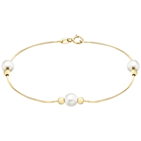 Ibb 9Ct Yellow Gold Snake Chain With Pearl And Ball Bracelet Gold