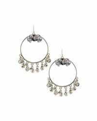 Lydell Nyc Hoop Drop Earrings W Shaky Crystals Gunmetal