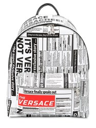 Versace Tabloid Print Saffiano Leather Backpack Multicolor