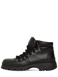 Prada 40Mm Brixen Leather Hiking Boots Black