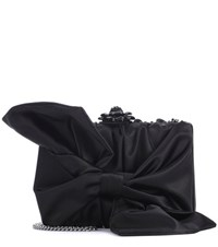 Oscar De La Renta Rogan Bow Box Clutch Black