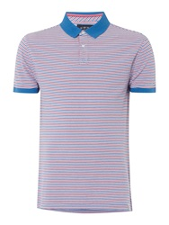 Criminal Alex Pique Striped Polo Shirt Pink