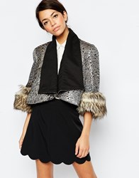 Traffic People Mia Jacket With Faux Fur Cuffs Black