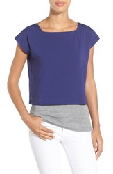 Women's Eileen Fisher Square Neck Crop Tee Sapphire
