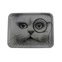 Rory Dobner Large Rectangular Tray Grey Cat With Monocle