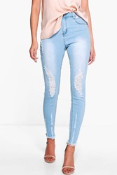 Boohoo High Waisted Destroyed Hem Skinny Jeans Blue
