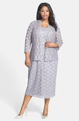 Alex Evenings Plus Size Women's Sequin Lace Tea Length Dress And Jacket