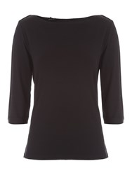 Jane Norman 3 4Length Boat Neck Top Black