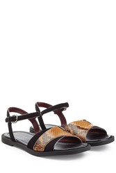 Marc By Marc Jacobs Embossed Leather And Suede Flat Sandals Black